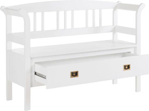 Urocza biała ławeczka pokojowa z szufladą