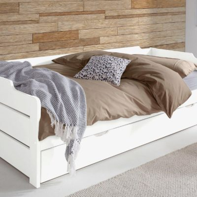 Praktyczna dwupoziomowa sosnowa sofa do salonu czy sypialni