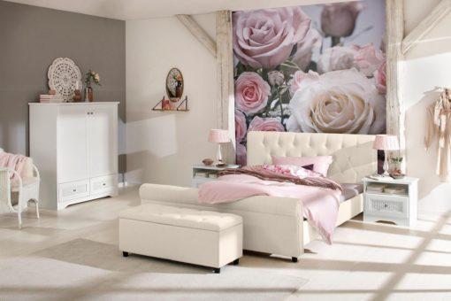 Eleganckie, tapicerowane łóżko 160x200 cm, kremowe