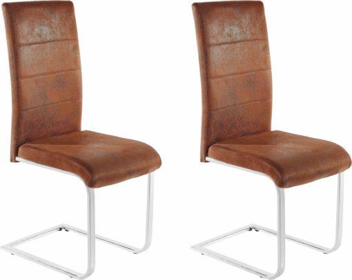 Eleganckie i stylowe krzesła obszyte wytrzymałą mikrofibrą w brązowym kolorze