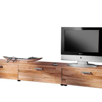 Piękna szafka pod telewizor, stylizowana w kolorze drewna bukowego