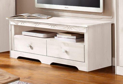 Zgrabna, sosnowa szafka RTV w kolorze białym