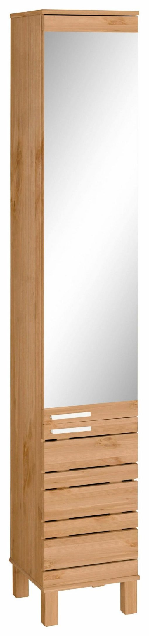 Praktyczna szafka-słupek, lite drewno z lustrem