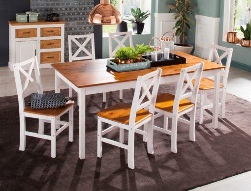 Klasyczny stół do jadalni, biały z miodowym blatem