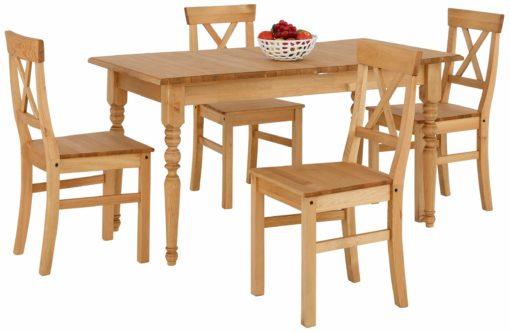 Zestaw rozkładany stół i cztery krzesła z litej sosny
