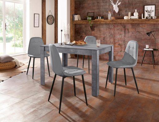 Niepowtarzalny i wyjątkowy komplet: stół w kolorze betonu i 4 krzesła