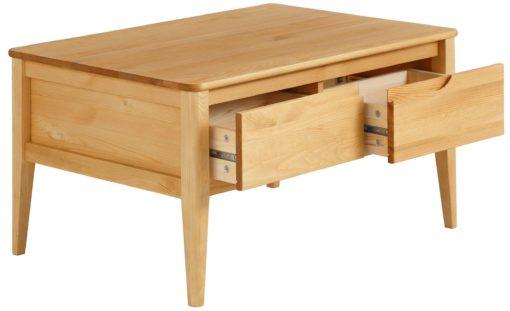 Sosnowy stolik kawowy z szufladami, drewno olejowane