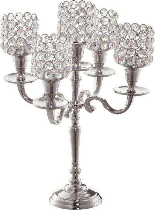 Bardzo stylowy świecznik na 5 świec ze szkła kryształowego