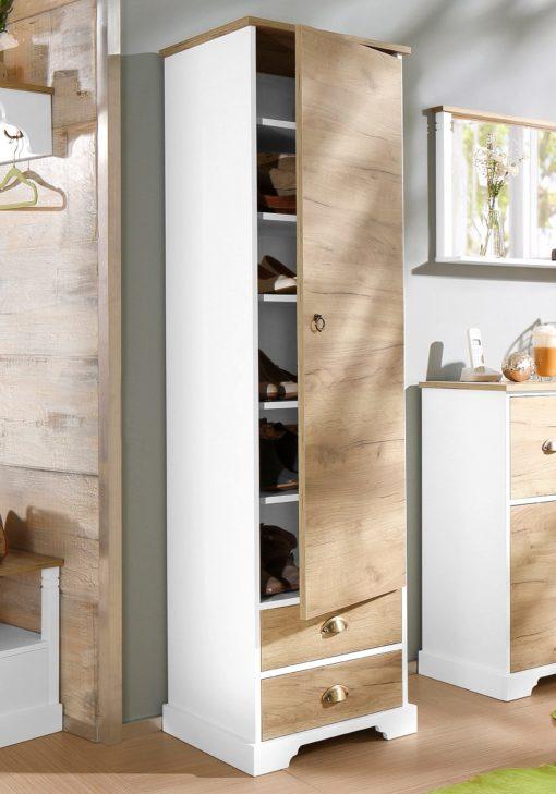Świetna szafka, wysoki słupek z wieloma półkami i szufladami