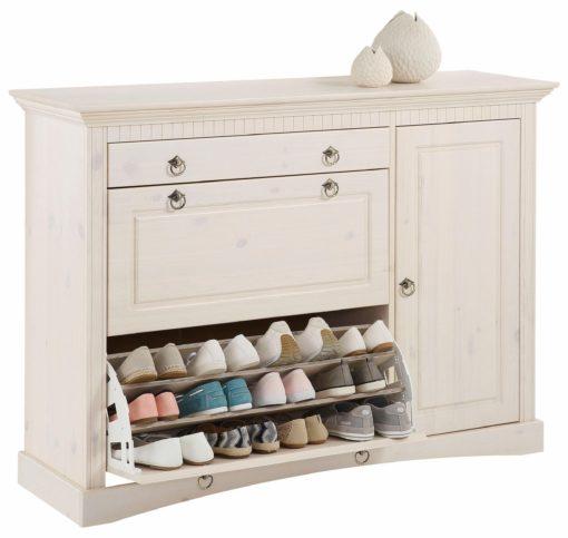 Piękna, drewniana, biała szafka na buty z ozdobnymi frezami