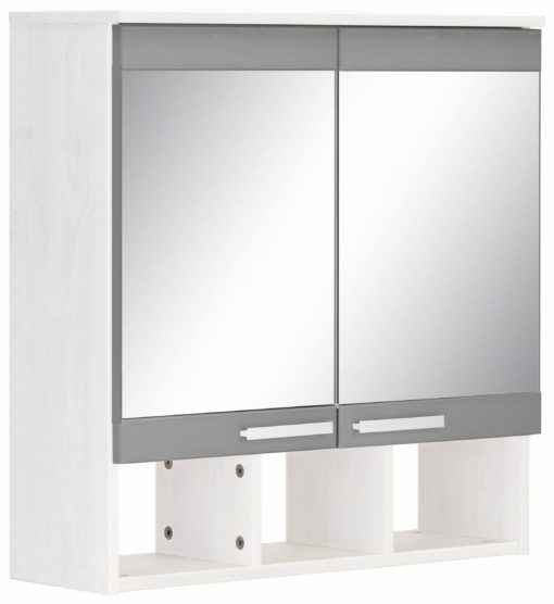 Szafka łazienkowa z lustrem i półką - szary front