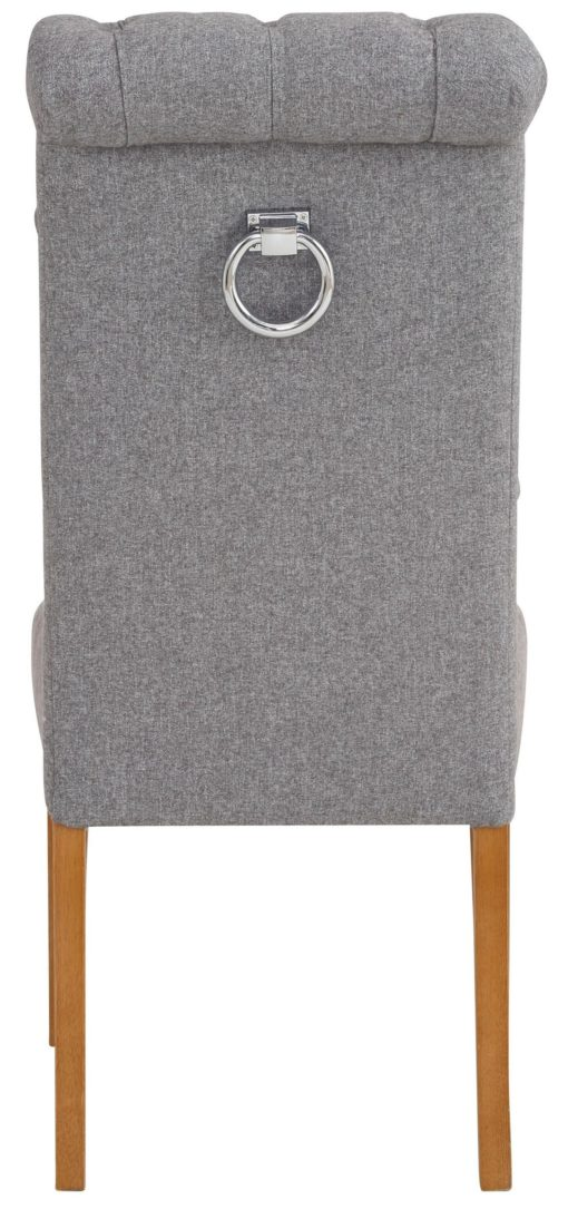 Eleganckie, szare krzesła z pikowaniem i kołatką z tyłu - 4 sztuki