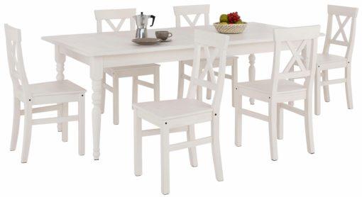 Biały zestaw rozkładany stół i cztery krzesła z litej sosny