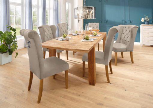 Eleganckie, kremowe krzesła z pikowaniem i kołatką z tyłu - 8 szt