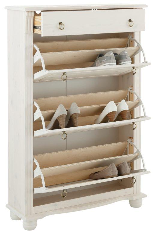 Pojemna, sosnowa szafka na buty w stylu rustykalnym, biała