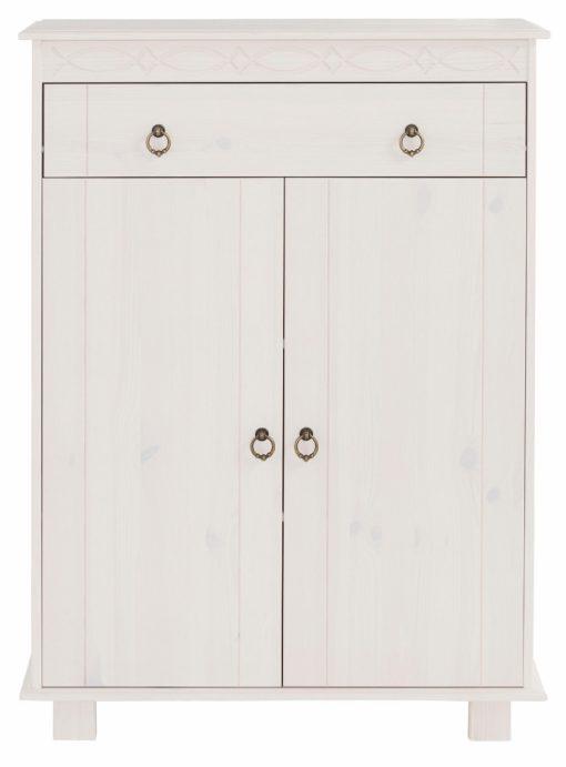 Biała, klasyczna komoda z drewna sosnowego