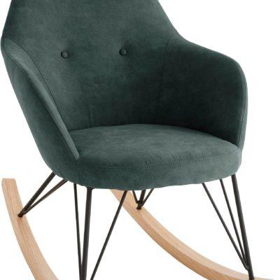 Fotel bujany na dębowych płozach, skandynawski styl