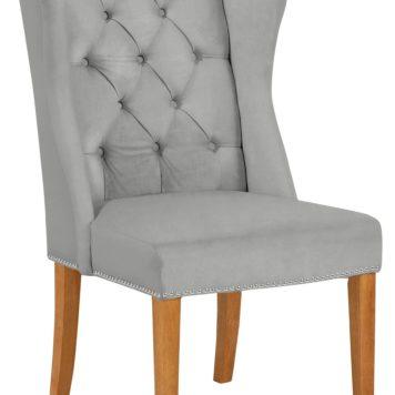 Elegancki, pikowany fotel z drewniana ramą - aksamit/welur
