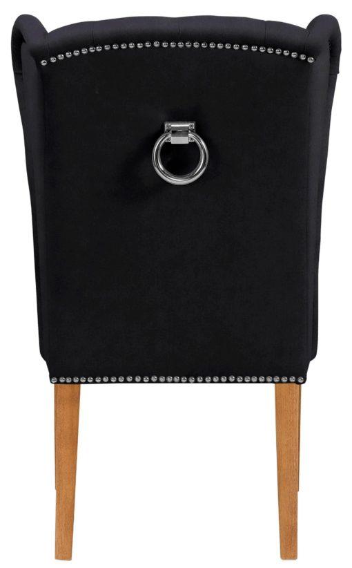 Elegancki, pikowany fotel z drewniana ramą - czarny