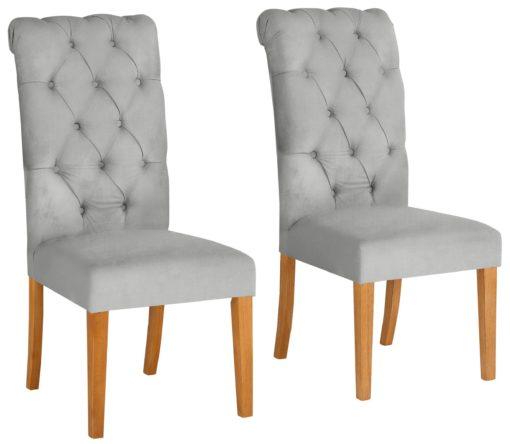 Eleganckie, szare krzesła z pikowaniem i kołatką z tyłu - 2 sztuki