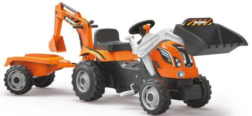 Traktor na pedły dla dzieci z przyczepą i koparką