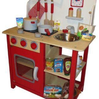 Czerwona kuchnia do zabawy Tanner z akcesoriami