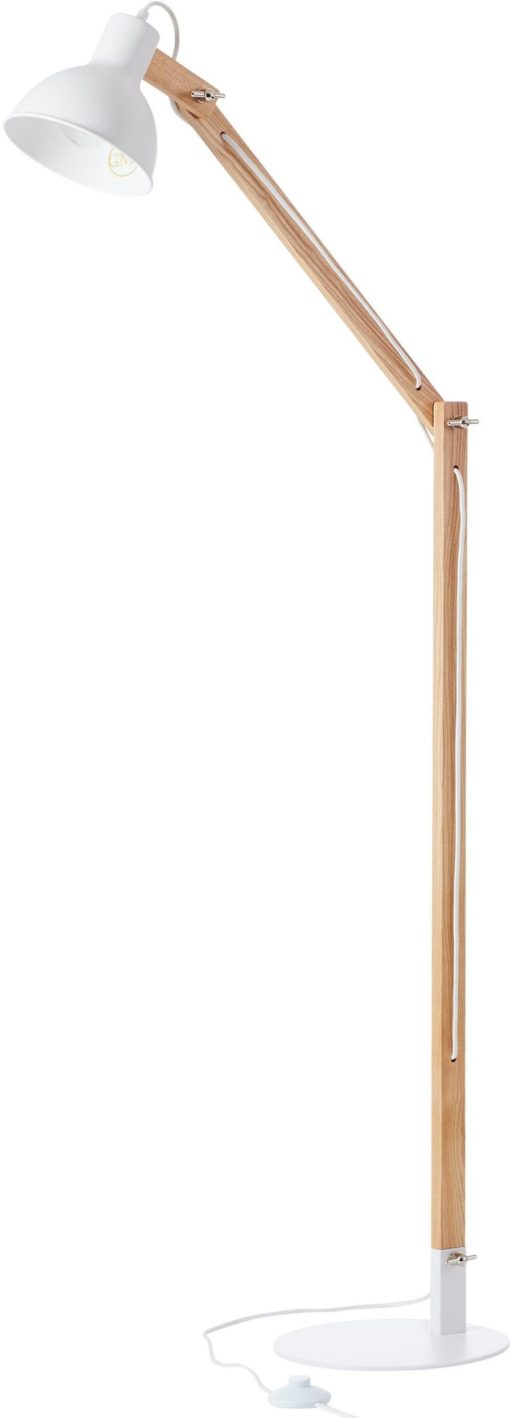 Designerska lampa stojąca wykonana z drewna i metalu