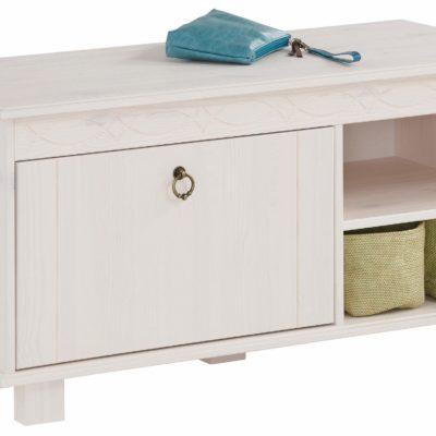 Sosnowa ławka z miejscem do przechowywania