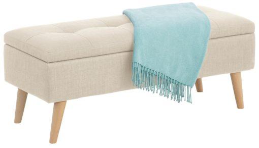 Ławka ze schowkiem obita piękną tkaniną w kolorze kremowym