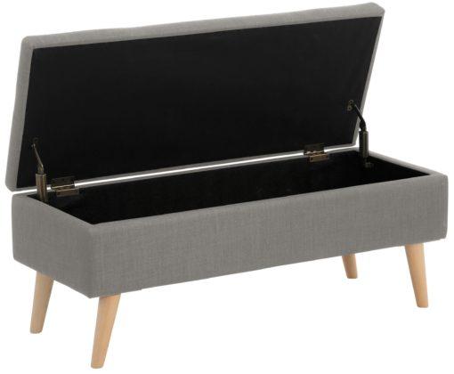 Stylowa, tapicerowana ławka ze schowkiem - szarym