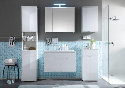 Stylowa szafka wisząca do łazienki w połysku i skandynawskim stylu