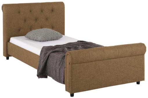 Eleganckie, tapicerowane łóżko 100x200 cm, brązowe