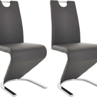 Stylowe krzesła ze skóry ekologicznej - szare