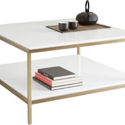 Modernistyczny, biały stolik kawowy ze złotymi nogami
