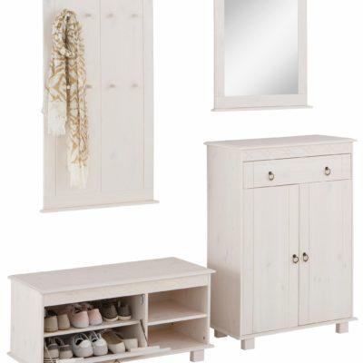 Sosnowy zestaw mebli do przedpokoju panel + lustro, biały