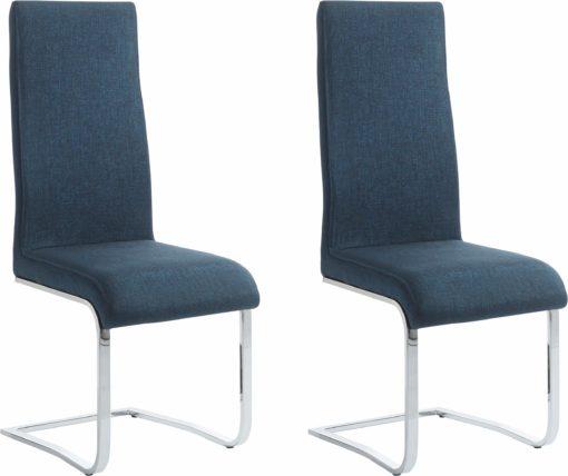 Nowoczesne krzesła na płozach w kolorze niebieskim