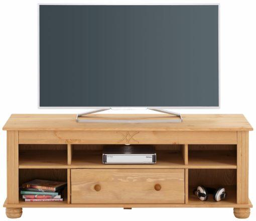 Szafka RTV z sosny z toczonymi nóżkami, 120 cm