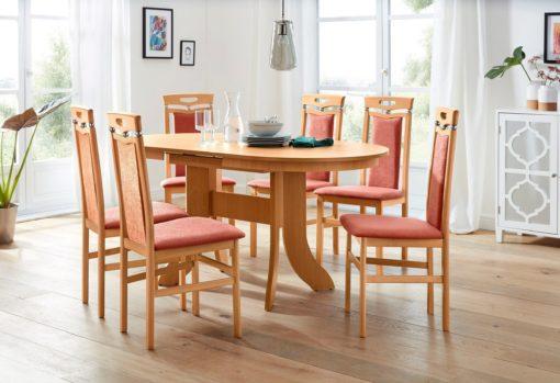 Stylowy, rozkładany stół 120 cm, w kolorze drewna bukowego