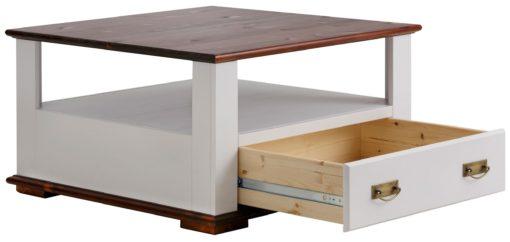 Elegancki i praktyczny stolik kawowy biel/wiśnia