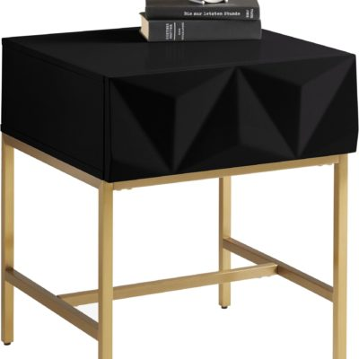 Modny stolik z szufladą i geometrycznym frontem, czarny