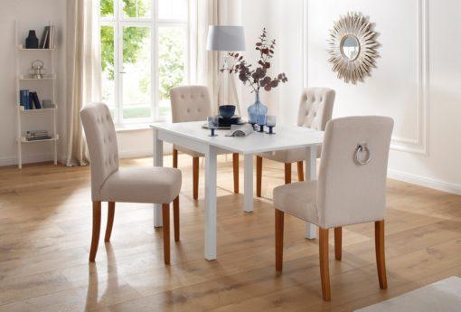 Biały stół do jadalni z płytką przedłużającą