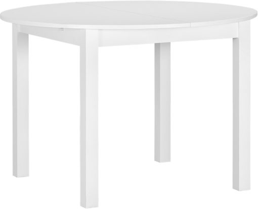 Okrągły, biały stół w klasycznym stylu