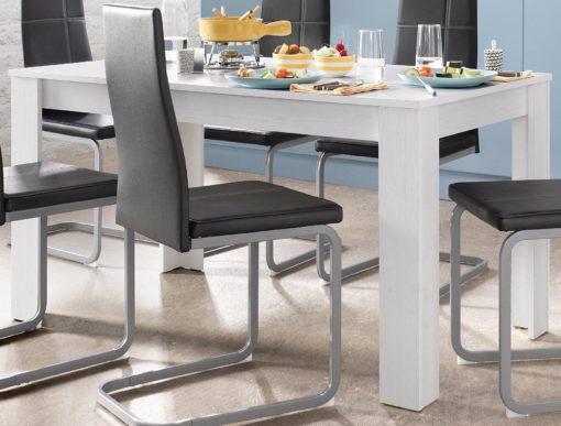 Jasny stół stylizowany na drewno 140 cm