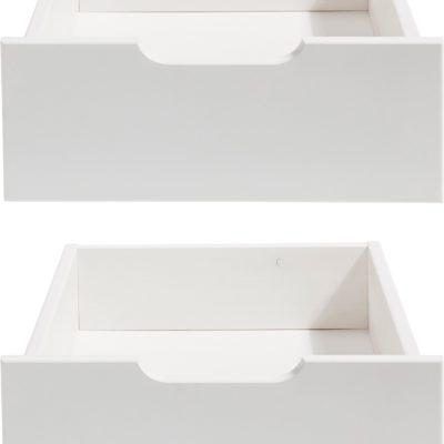Zestaw dwóch białych szuflad np. pod łóżko dziecięce