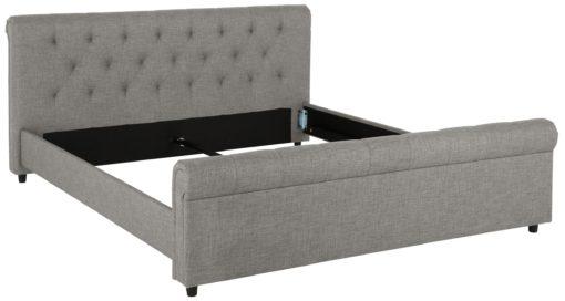 Eleganckie, tapicerowane łóżko 160x200 cm, szare