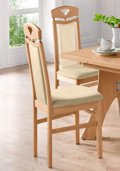 Ponadczasowe, eleganckie krzesła, kremowe - zestaw 2 sztuki