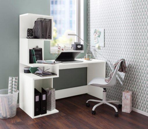 Funkcjonalne biurko w nowoczesnym stylu, białe