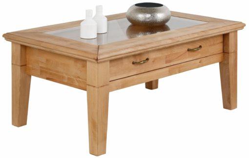 Elegancki stolik kawowy ze szklanym blatem i szufladą