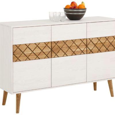 Ponadczasowo piękny, drewniany kredens z dekoracyjnym frontem