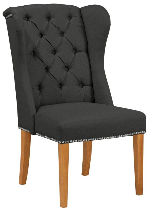 Elegancki, antracytowy fotel z drewnianą ramą